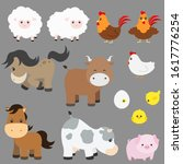 cute farm animal vector... | Shutterstock .eps vector #1617776254