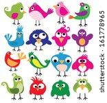 Cute Birds In Vector. Cartoon...