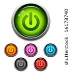 glossy power button icon set in ...