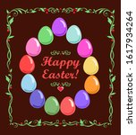 easter card with colorful... | Shutterstock .eps vector #1617934264