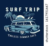 surf car drawing for t shirt...   Shutterstock .eps vector #1617951667