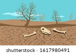 drought condition cracked land... | Shutterstock .eps vector #1617980491