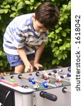 a young boy competing with his... | Shutterstock . vector #1618042
