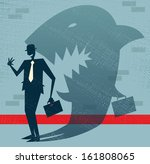 abstract businessman is a shark ... | Shutterstock .eps vector #161808065