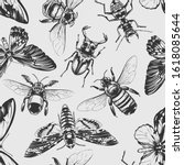 seamless pattern with vintage... | Shutterstock .eps vector #1618085644