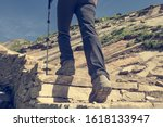 Low Angle View Of Hikin Boots...