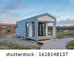 Small photo of IJMUIDEN-JANUARY 12 2020. The Tiny House movement is a turn to a simpler life, where people choose to live with less. In IJmuiden you can experience this by renting them.