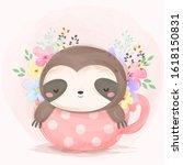 cute baby sloth sleeping ... | Shutterstock .eps vector #1618150831
