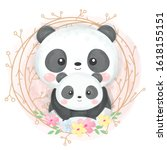 cute mommy and baby panda ... | Shutterstock .eps vector #1618155151