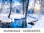 Winter Snow Forest River View....