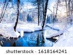 Winter Forest River Landscape...