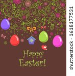 funny childish easter card with ... | Shutterstock .eps vector #1618177531