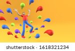 abstract man in excited pose... | Shutterstock . vector #1618321234