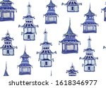 beautiful vintage ink chinese... | Shutterstock .eps vector #1618346977