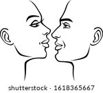 man and woman faces on a white... | Shutterstock .eps vector #1618365667