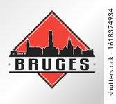 bruges belgium skyline logo.... | Shutterstock .eps vector #1618374934