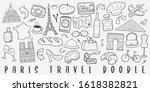 paris travel doodle line art... | Shutterstock .eps vector #1618382821