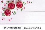 Ripe Cranberries In Wooden...