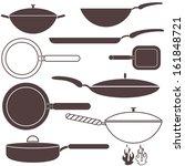 frying pan set. vector.... | Shutterstock .eps vector #161848721