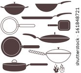 frying pan set. isolated frying ... | Shutterstock .eps vector #161848721