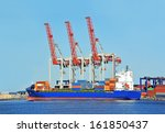container stack and ship under... | Shutterstock . vector #161850437