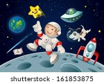 kid jumping in space... | Shutterstock .eps vector #161853875