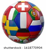 European Football Ball with France in the Middle and Other National Soccer Teams Flags Around. 3D Illustration. Isolated on White.