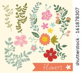 vector set with vintage flowers | Shutterstock .eps vector #161878307