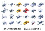 Unmanned Taxi Icons Set....