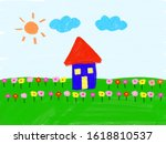 blue house on the meadow with...   Shutterstock . vector #1618810537