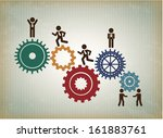 human resources over pattern... | Shutterstock .eps vector #161883761