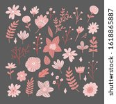 floral bouquet of hand drawn... | Shutterstock .eps vector #1618865887
