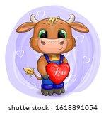 Cartoon Cute Little Baby Bull....