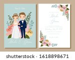 save the date cute bride and... | Shutterstock .eps vector #1618898671