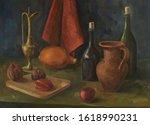 Oil Painting On Canvas. Still...