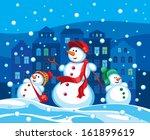 family of snowmen in the...   Shutterstock .eps vector #161899619