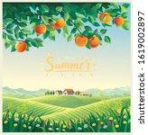 summer landscape with apple... | Shutterstock .eps vector #1619002897