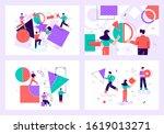 teamwork flat vector... | Shutterstock .eps vector #1619013271
