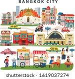 bangkok city landmarks travel... | Shutterstock .eps vector #1619037274