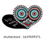 penwork heart for valentines... | Shutterstock .eps vector #1619039371