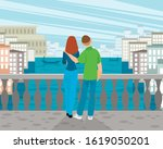 vector illustration of a couple ... | Shutterstock .eps vector #1619050201