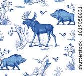 moose  wild boar  oak  bird ...   Shutterstock .eps vector #1619058631
