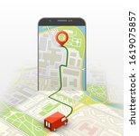 city map route navigation... | Shutterstock .eps vector #1619075857