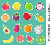 fruits pattern.strawberry ... | Shutterstock .eps vector #1619085634