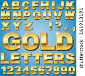an alphabet sit of shiny gold... | Shutterstock .eps vector #161913191