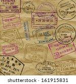 vector color passport stamps  ... | Shutterstock .eps vector #161915831