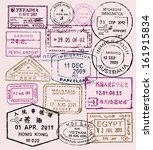 vector color passport stamps  ... | Shutterstock .eps vector #161915834