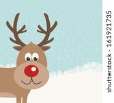 reindeer snowy background | Shutterstock .eps vector #161921735