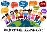 isolated children of different... | Shutterstock .eps vector #1619236957