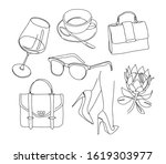 fashion one line drawing. bag ... | Shutterstock .eps vector #1619303977